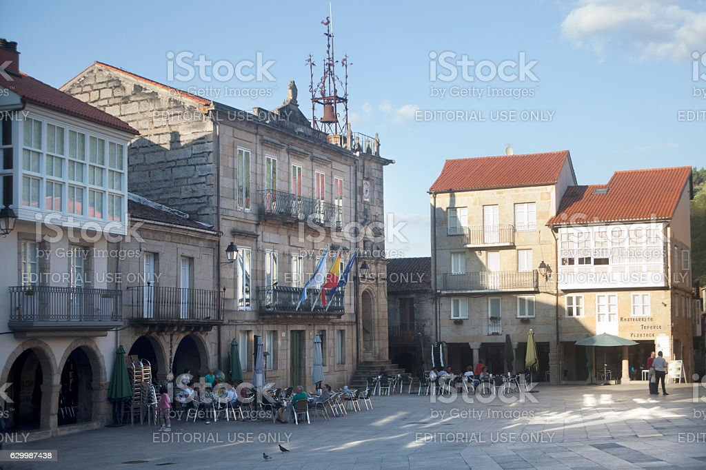 Town square and town hall in Ribadavia, Ourense, Spain. stock photo
