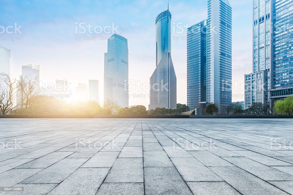 town square during sunset stock photo