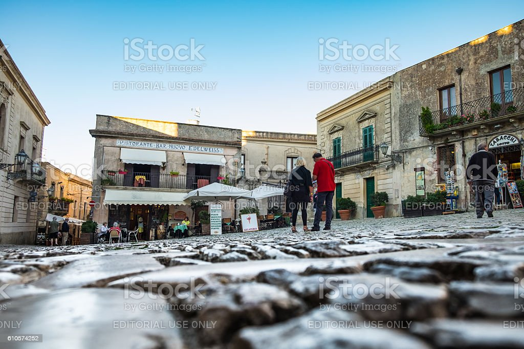 Town square in Erice, Sicily stock photo