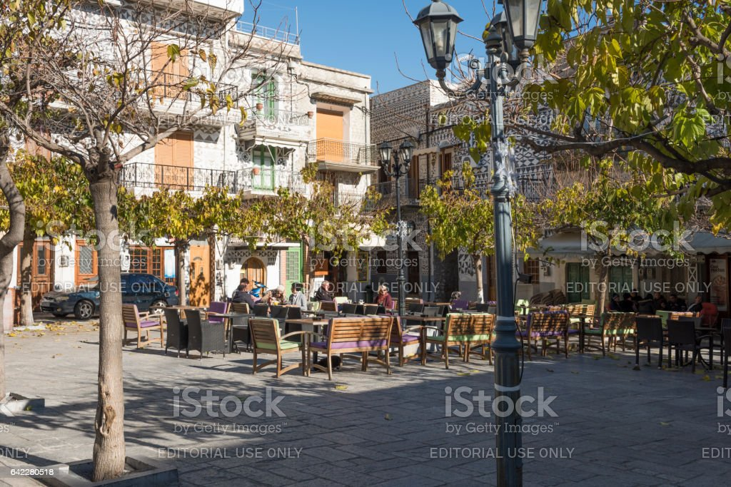 Town square in Pyrgi village on Greek Island of Chios stock photo
