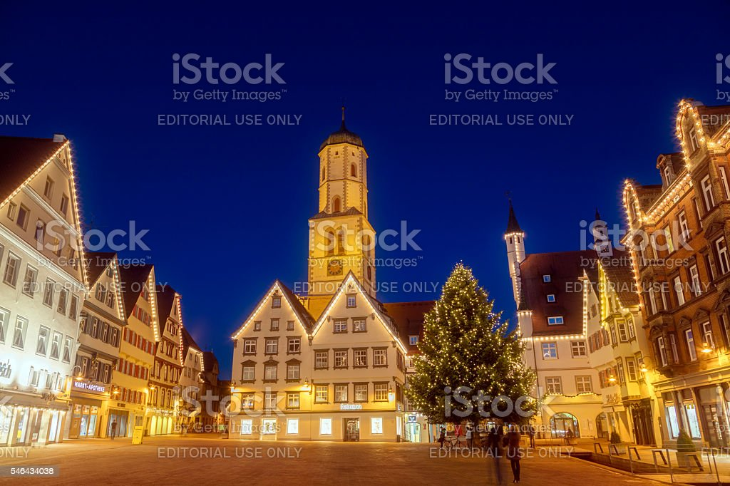 Town square, old town, Christmas, Biberach, Germany stock photo