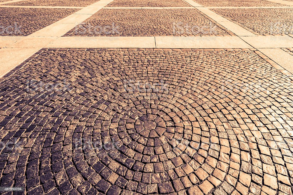 Town square paved with stone stock photo