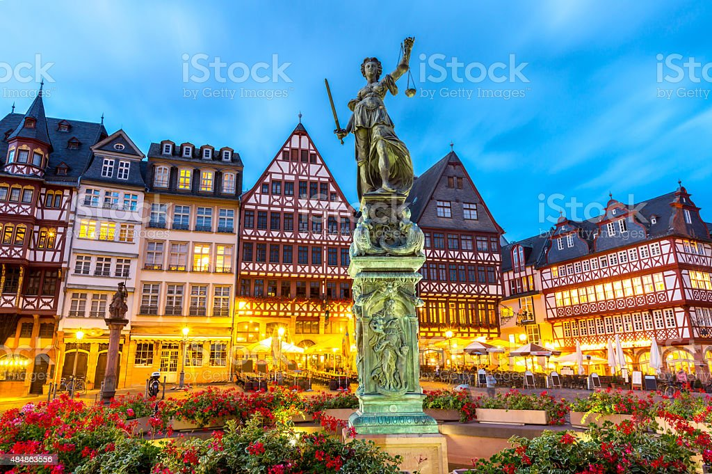 Town square romerberg Frankfurt Germany stock photo