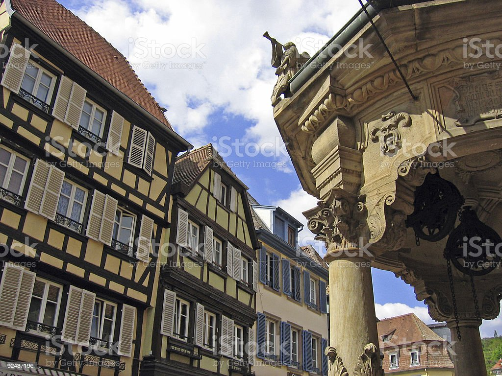 Town square with beautiful old architecture royalty-free stock photo