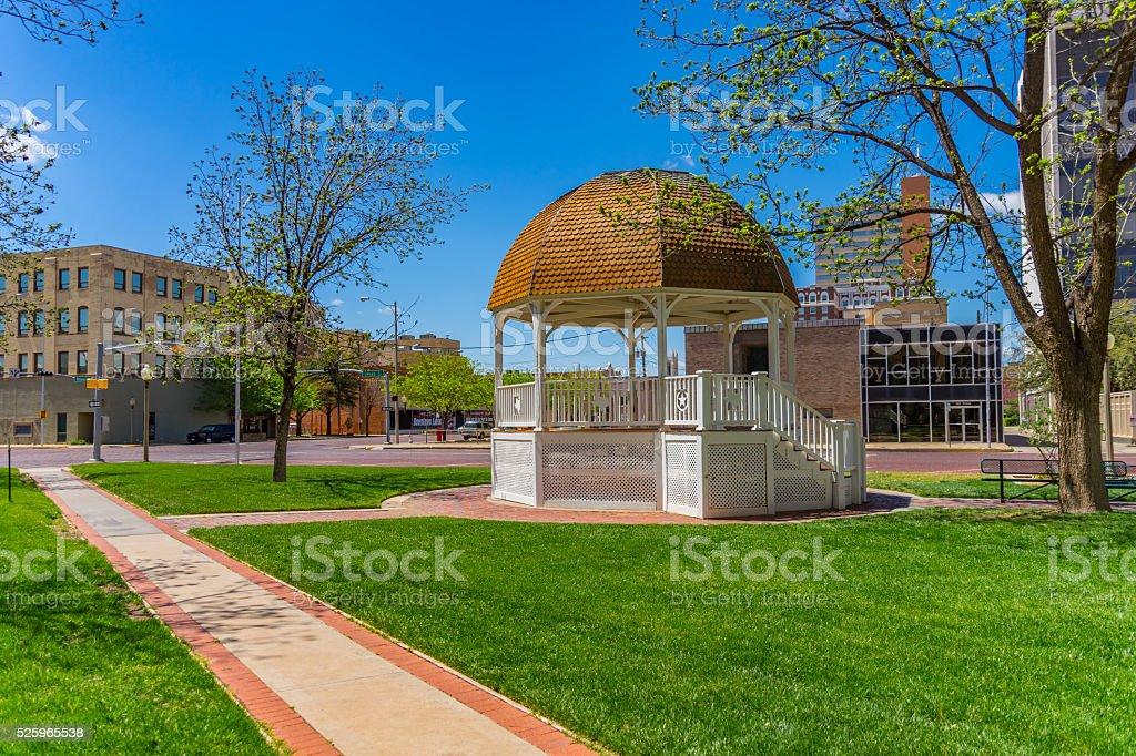 Town square with Gazebo downtown Lubbock, TX (P) stock photo