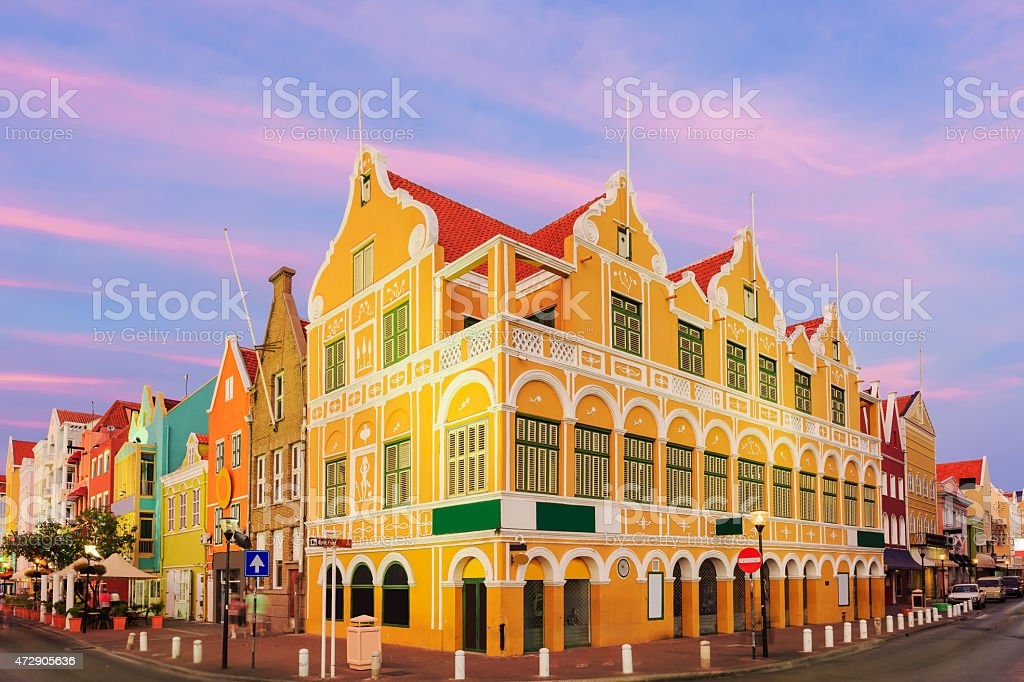 Town view illustration of Curacao Netherlands Antilles stock photo