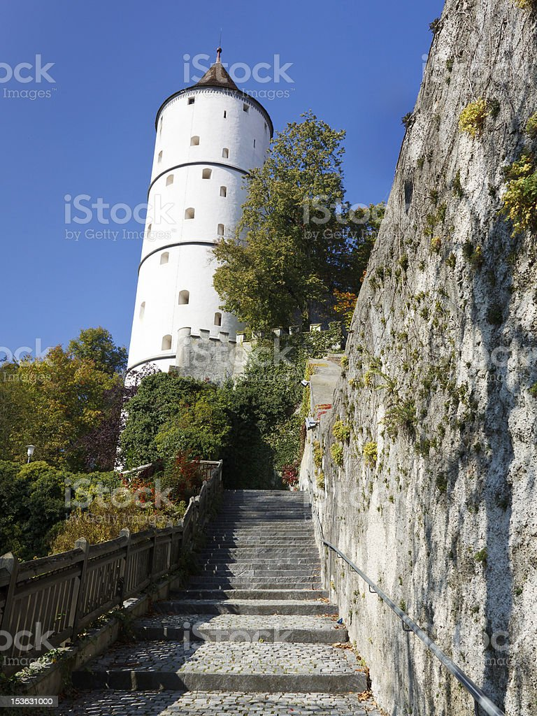 Town Wall and Weisser Turm (White Tower) of Biberach, Germany stock photo