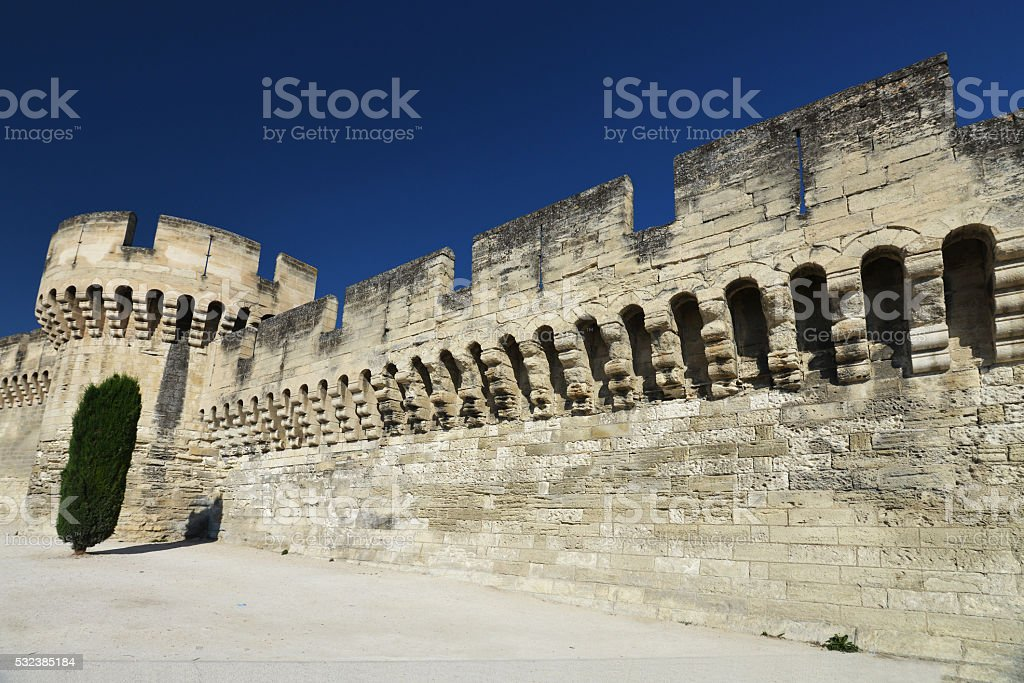 Town wall of Avignon stock photo