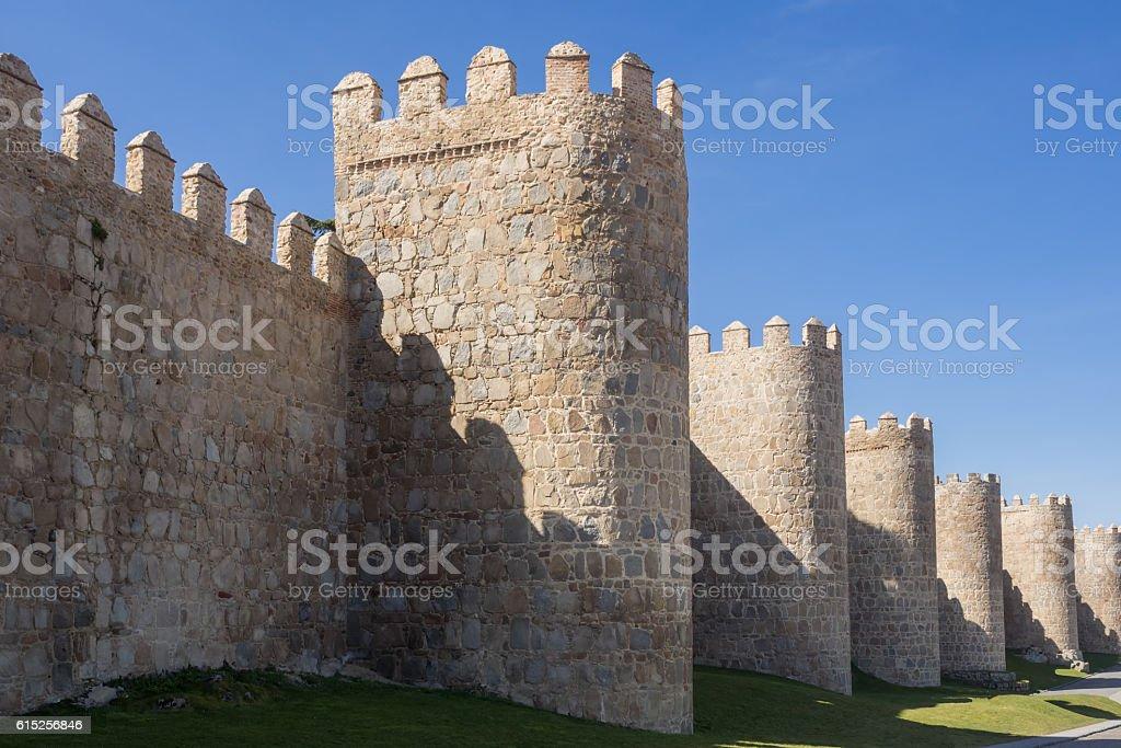 Town wall of Avila, Spain stock photo