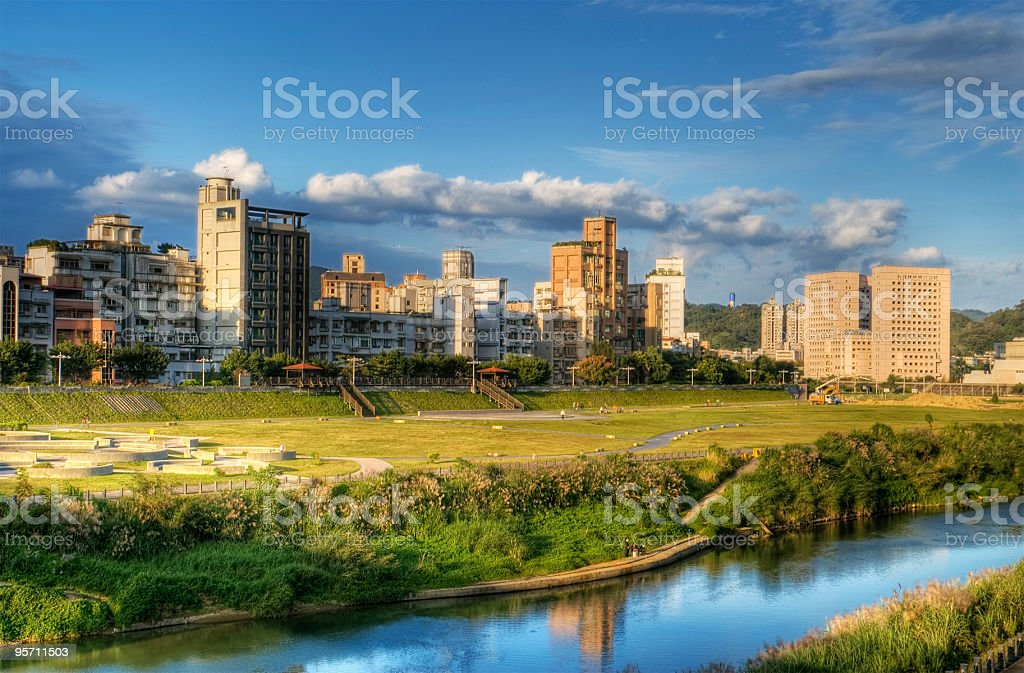 Town with river and house royalty-free stock photo