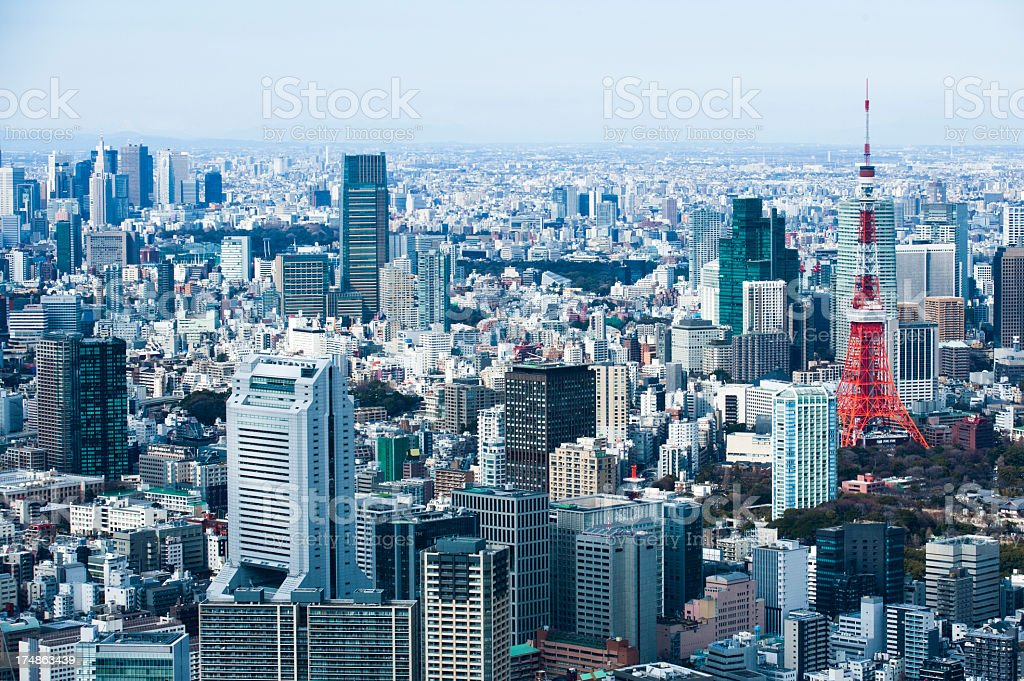 Town with Tokyo Tower stock photo