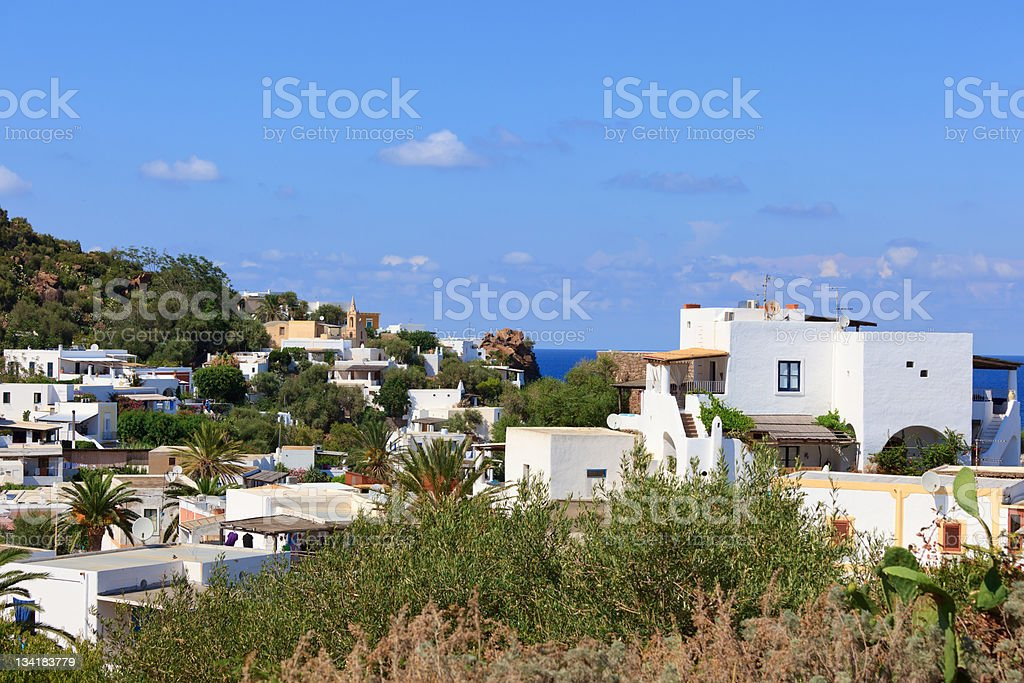Town with white houses stock photo