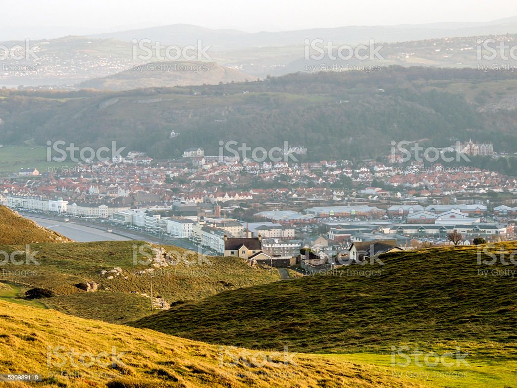 Town/city panorama from the top of the hills stock photo