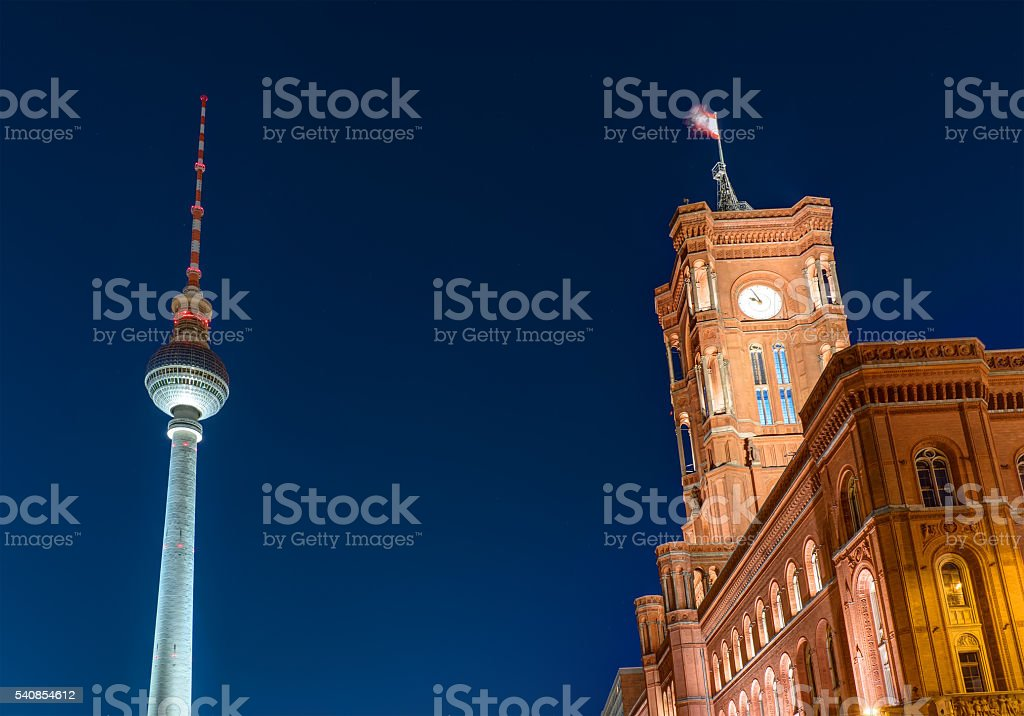 Townhall and Television Tower stock photo