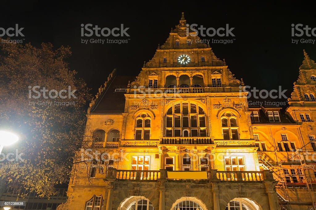 townhall bielefeld germany at night stock photo