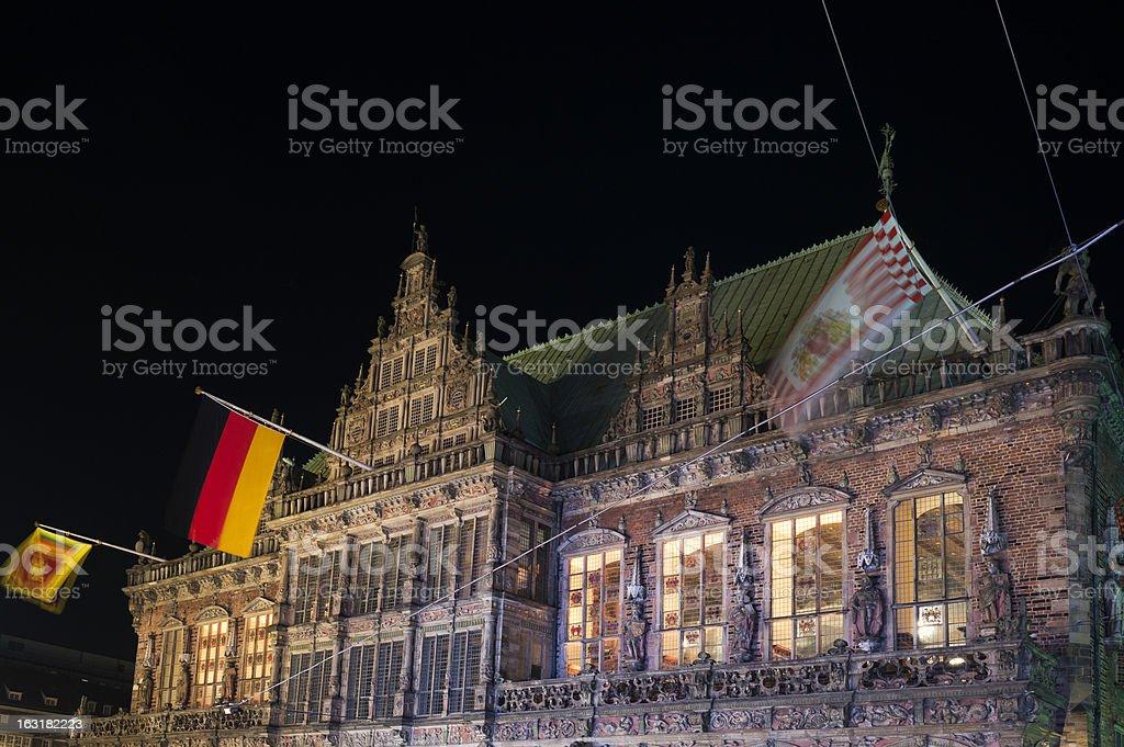 Townhall Bremen at night (XXXL) stock photo
