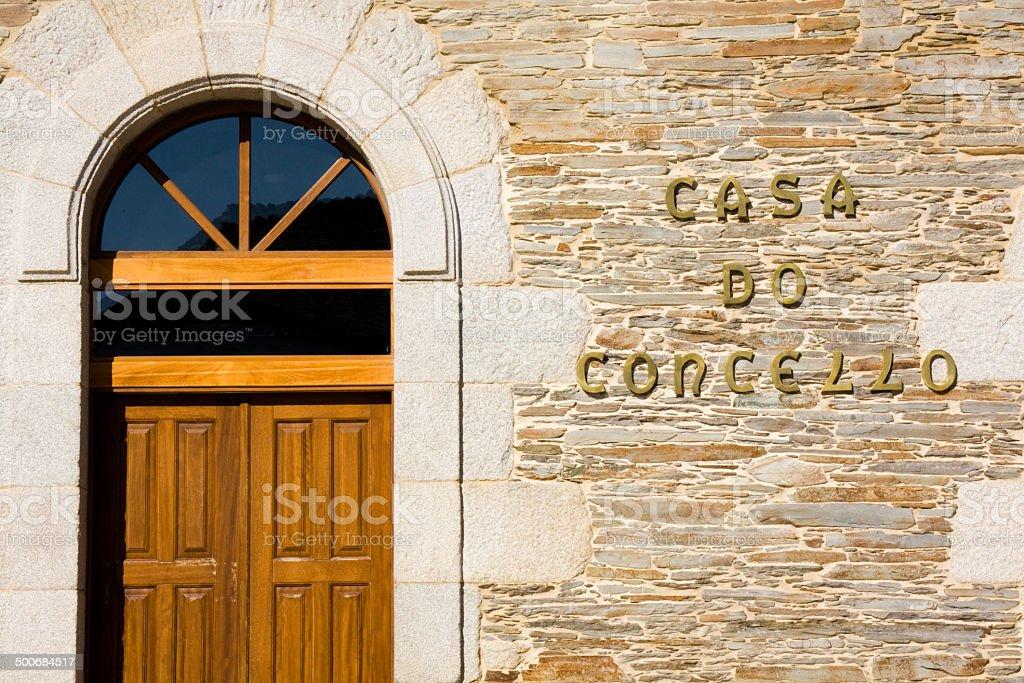 Townhall door in Galicia, Spain. stock photo