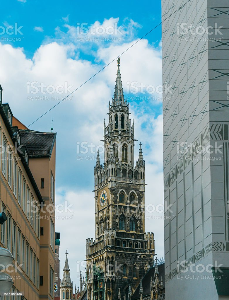 townhall of munich in high angle format stock photo