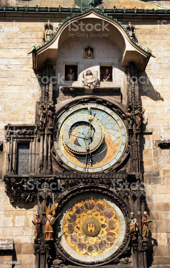 Townhall with Astronomical Clock in Prague stock photo