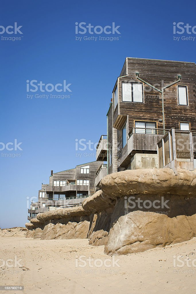Townhomes Above Seawall stock photo