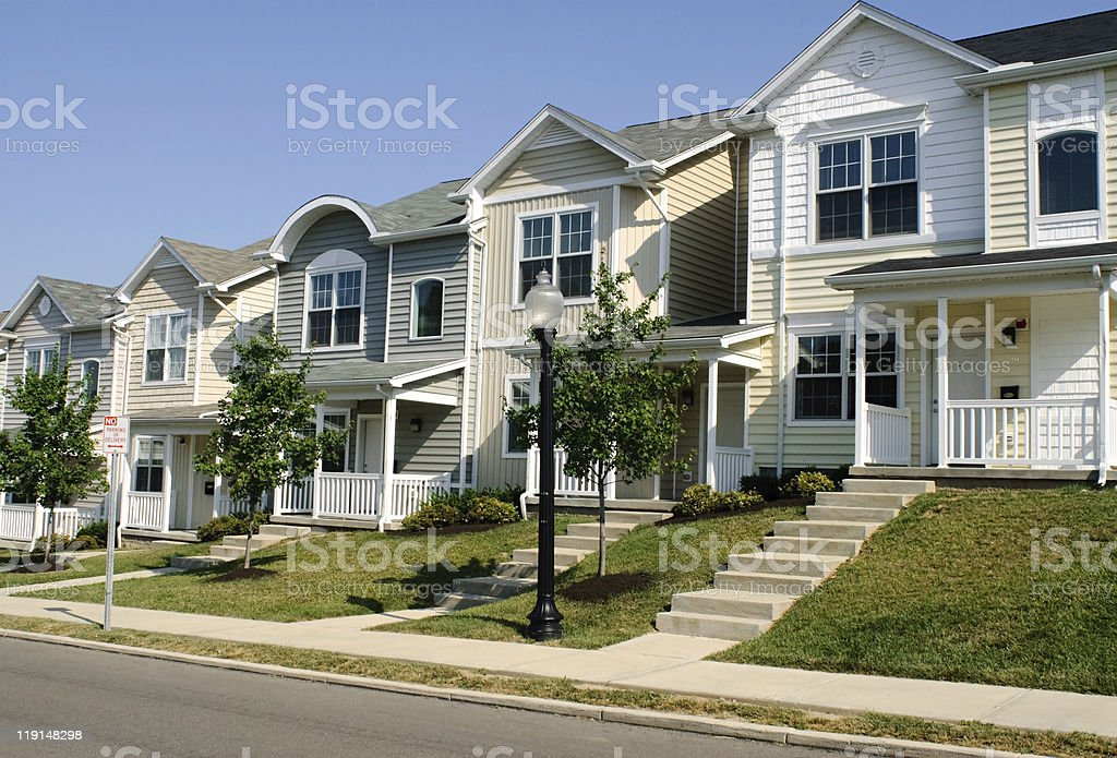 Townhouse Row stock photo