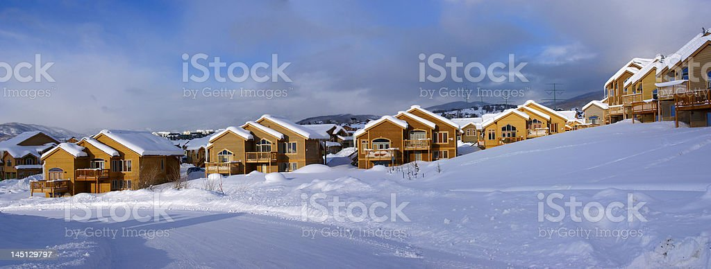 Townhouses after heavy snowstorm royalty-free stock photo