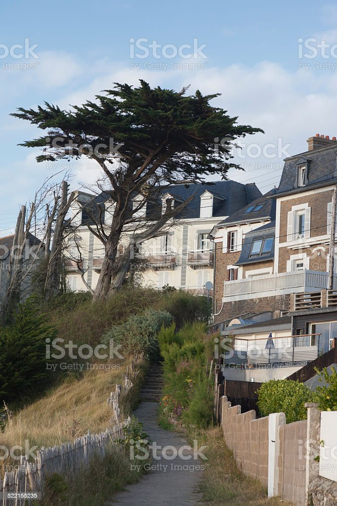 Townhouses and footpath in Saint-Malo stock photo