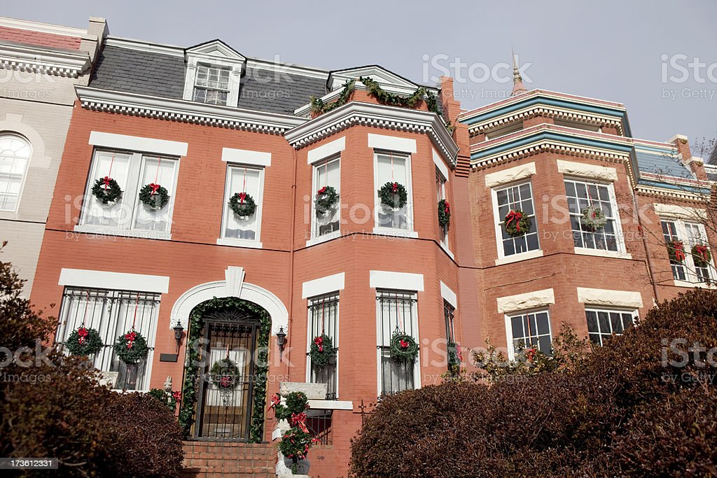Townhouses Decorated for Christmas royalty-free stock photo