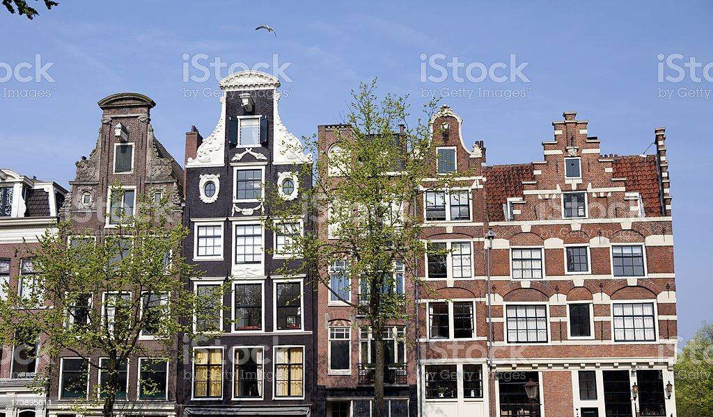 Townhouses in Amsterdam stock photo