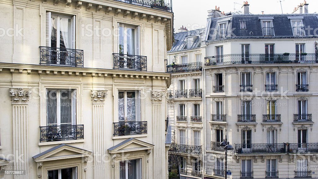 townhouses in Montmartre Paris France stock photo