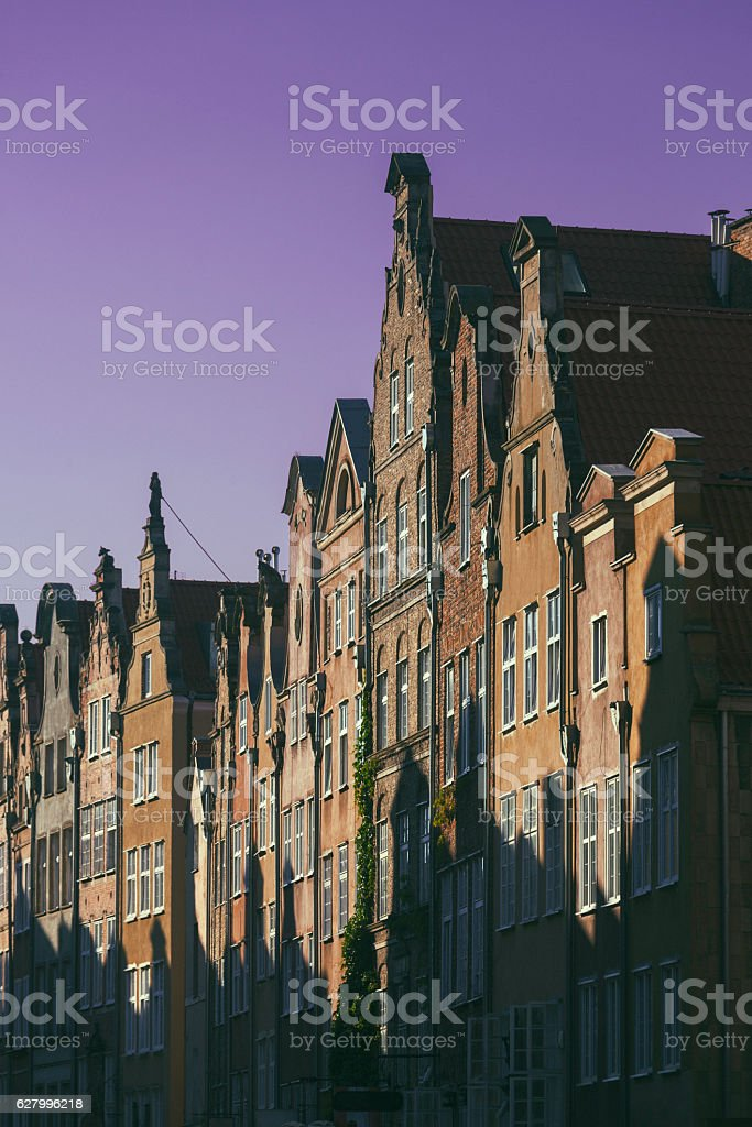 Townhouses in sunlight stock photo