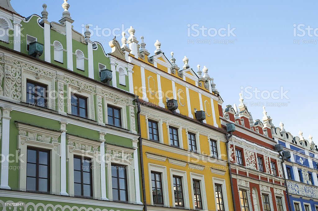 townhouses in the city of Zamosc royalty-free stock photo