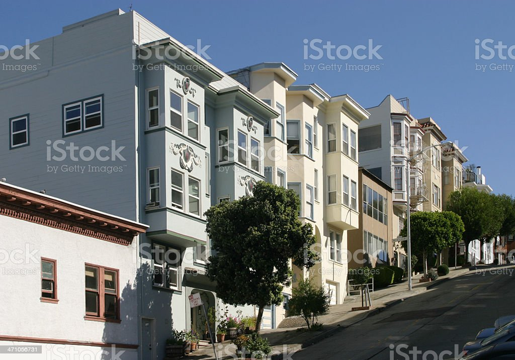 Townhouses On A Hill royalty-free stock photo