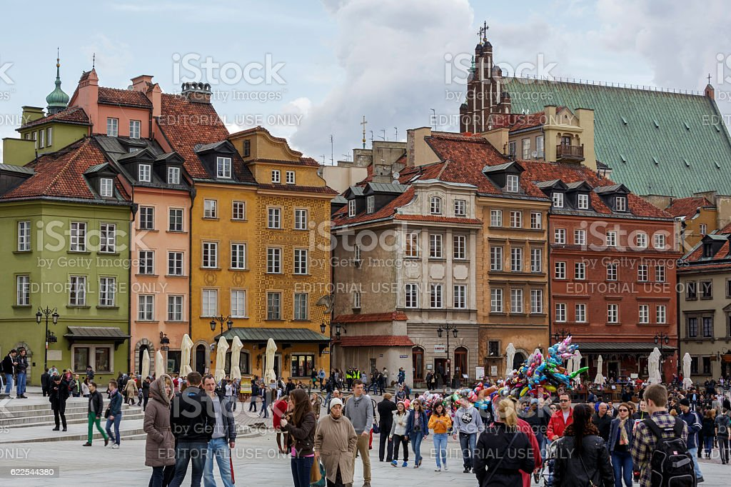 Townhouses on the Castle Square in Warsaw stock photo