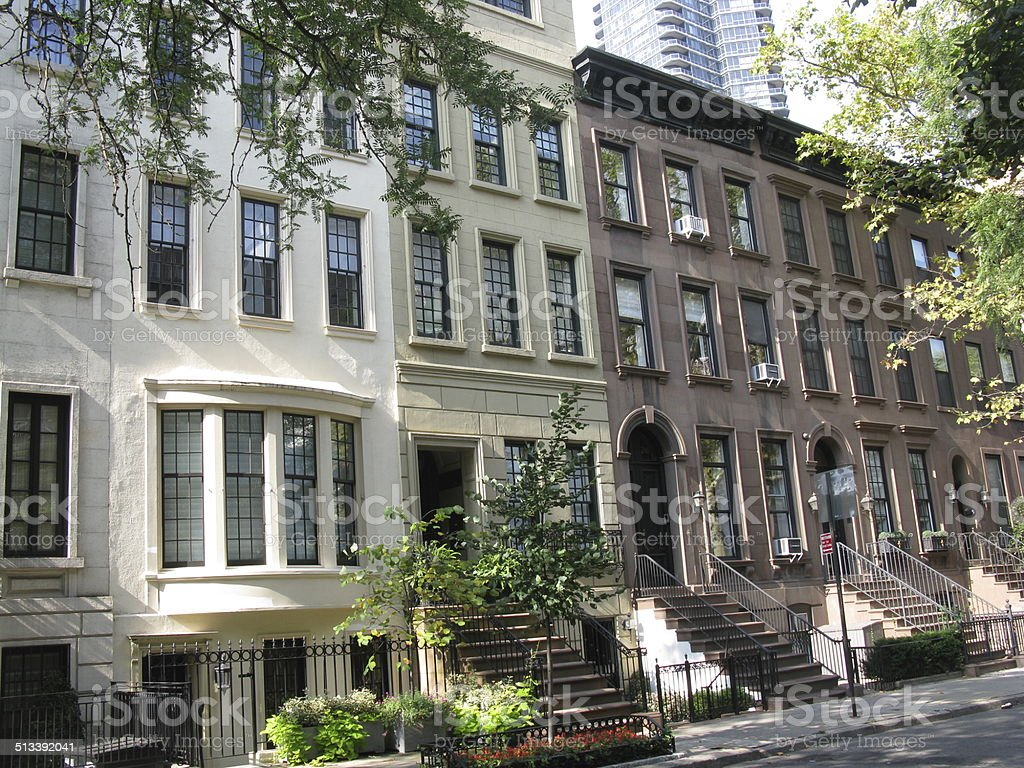 Townhouses on the Upper East Side of New York City stock photo