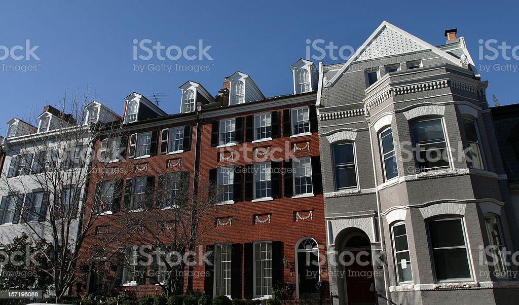 Townhouses, Rowhouses Washington, DC royalty-free stock photo