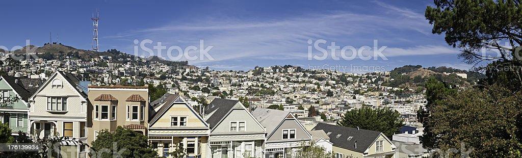 Townhouses villas homes panorama Sutro San Francisco Twin Peaks Castro stock photo
