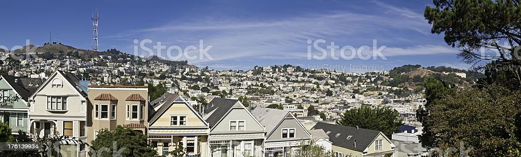 Townhouses villas homes panorama Sutro San Francisco Twin Peaks Castro stock photo