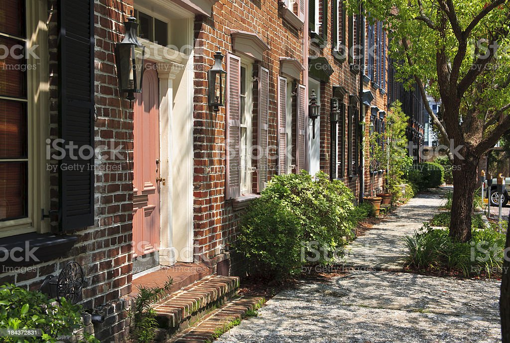 Townhouses with Sidewalk - Savannah, Georgia royalty-free stock photo