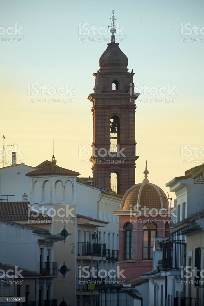 Townscape of Antequera, M?laga province, Spain at dusk. stock photo