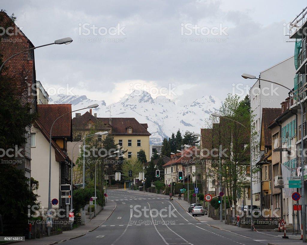 Townscape of Feldkirch, Vorarlberg, Austria. stock photo