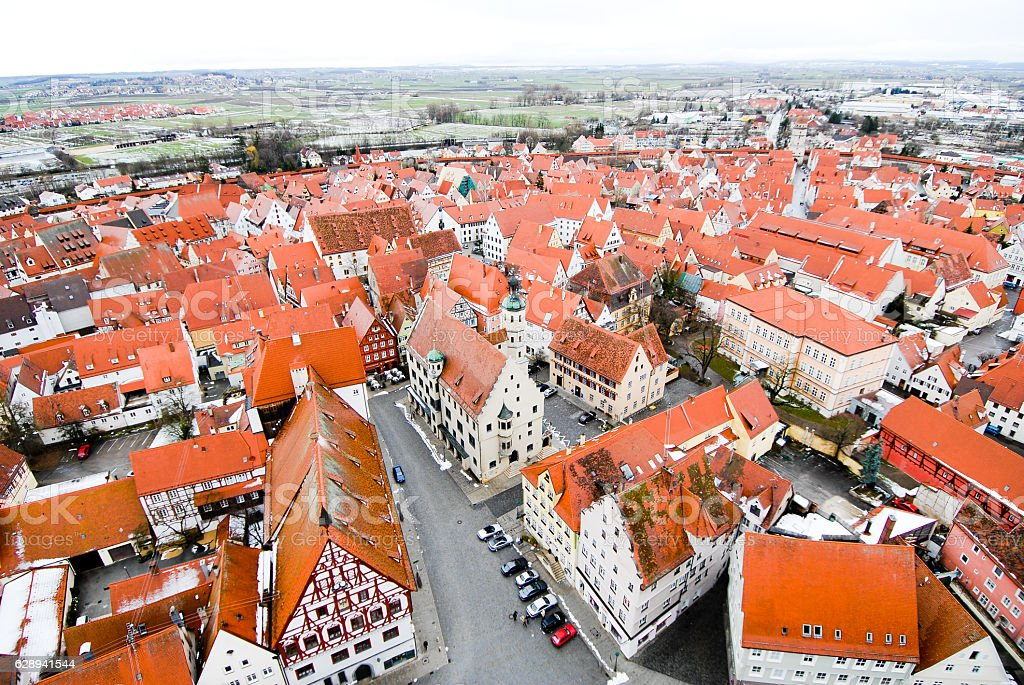 "Townscape of Nördlingen from the clock tower 'Daniel"" stock photo"