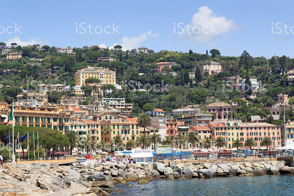 Townscape of Santa Margherita Ligure and Mediterranean Sea, Italy stock photo