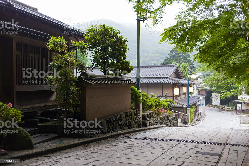 Townscape of the Stone Pavement among Trees stock photo