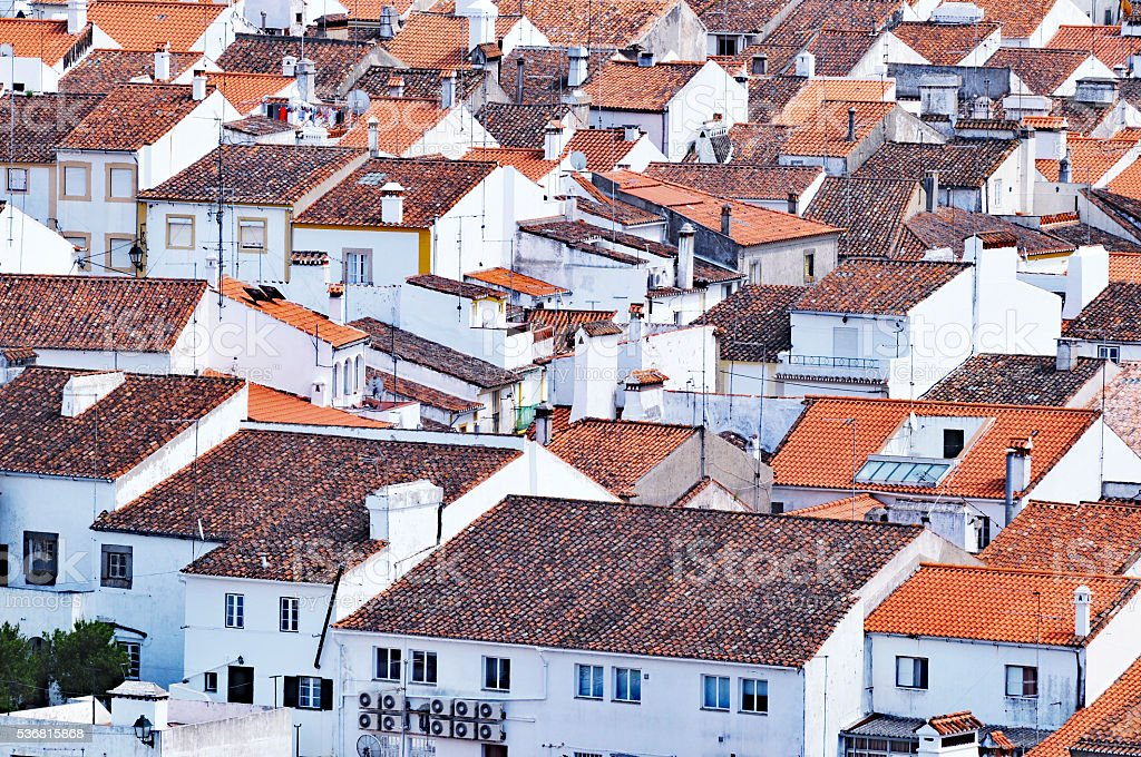 Townscape with white houses with tiled roofs, Castelo de Vide,Portugal stock photo