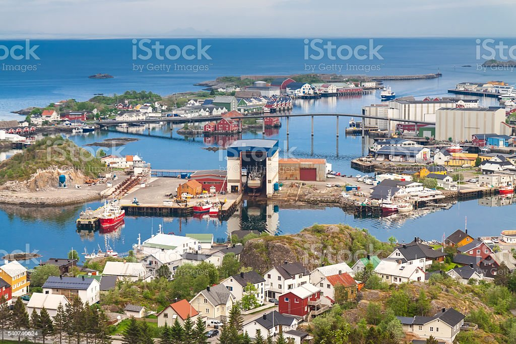 Township of Svolvaer - Lofoten, Norway stock photo