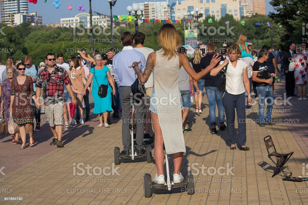 Townspeople in the park named after Shcherbakov at the celebration of the city stock photo