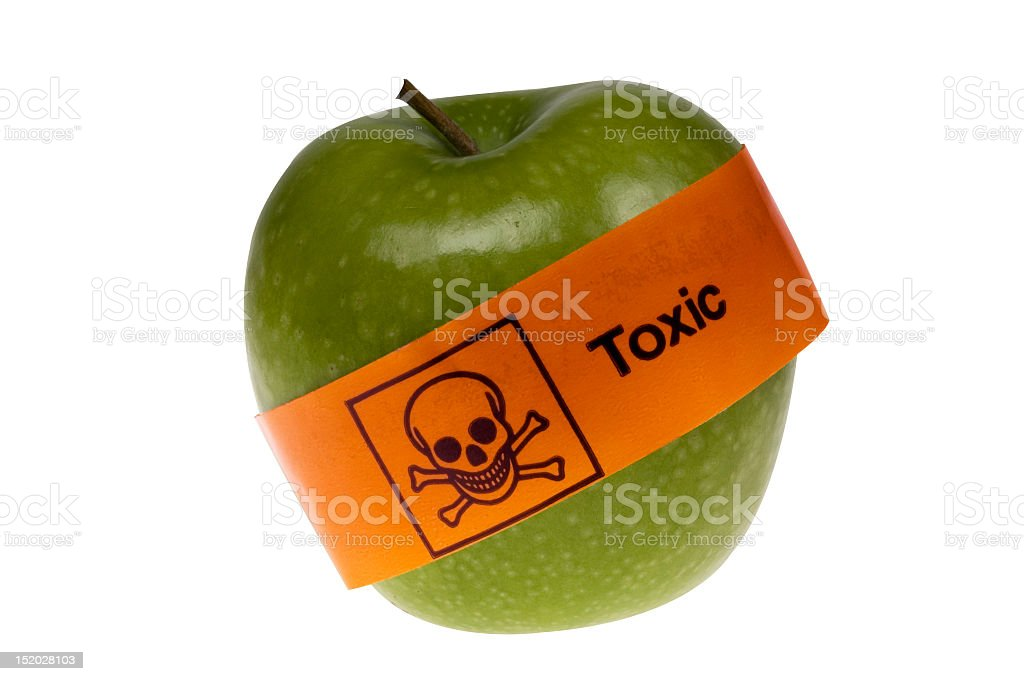 Toxic apple that is not healthy to eat stock photo
