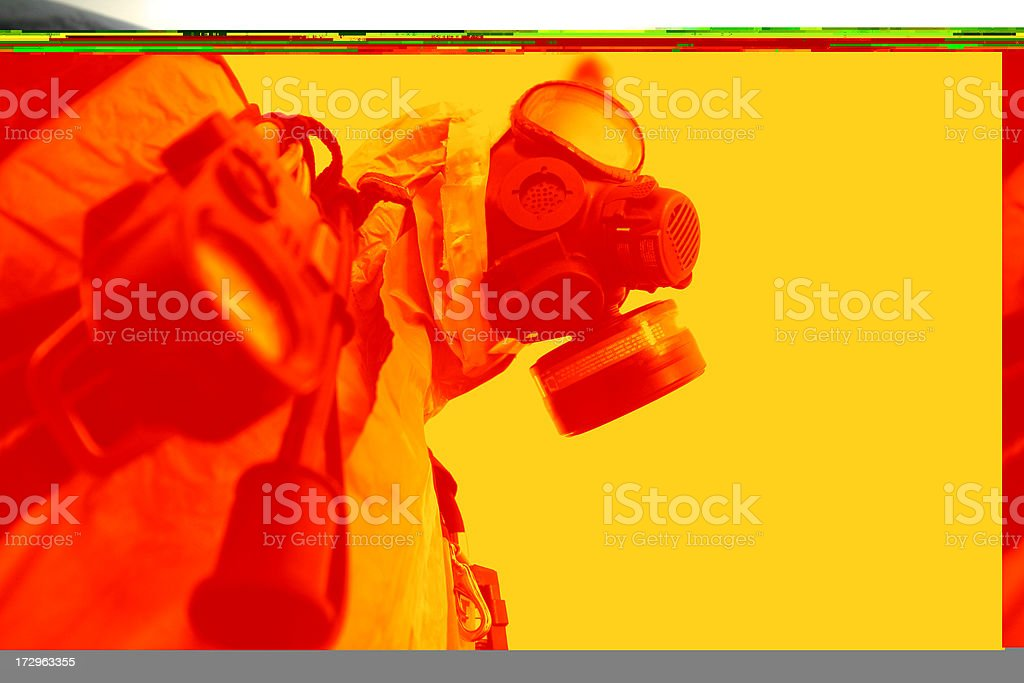 Toxic future, Gas mask and radiation protection stock photo