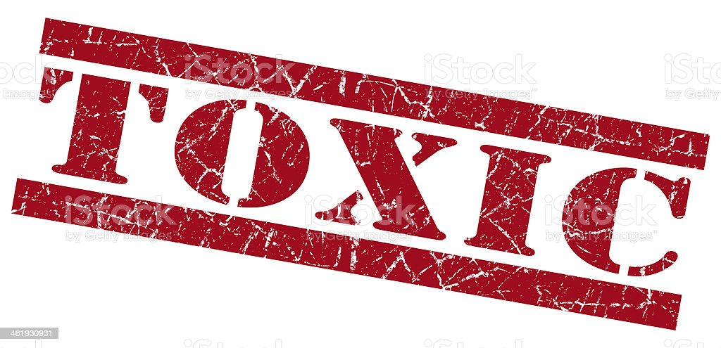 Toxic red grunge stamp stock photo